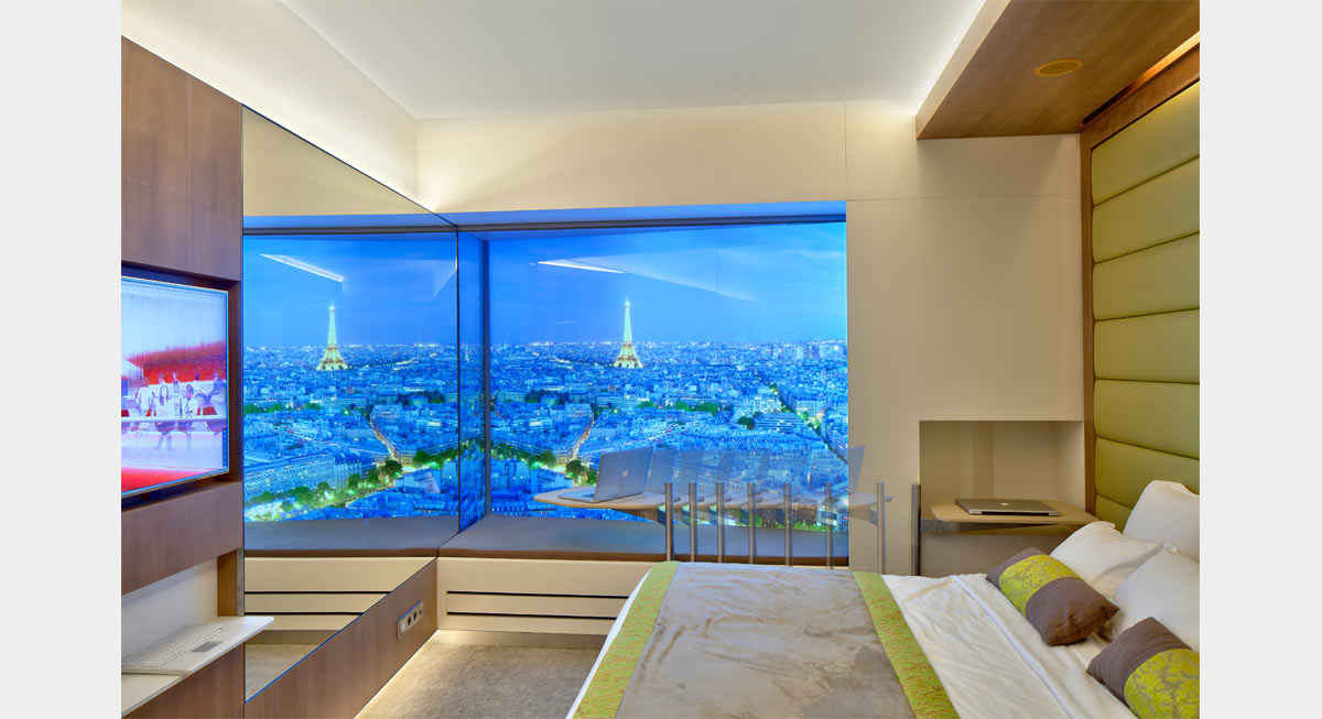 Plc architectures mock up room paris etoile for Hotel design 5 etoiles paris